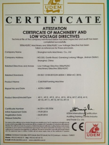 Porcellana Cangzhou Best Machinery Co., Ltd Certificazioni